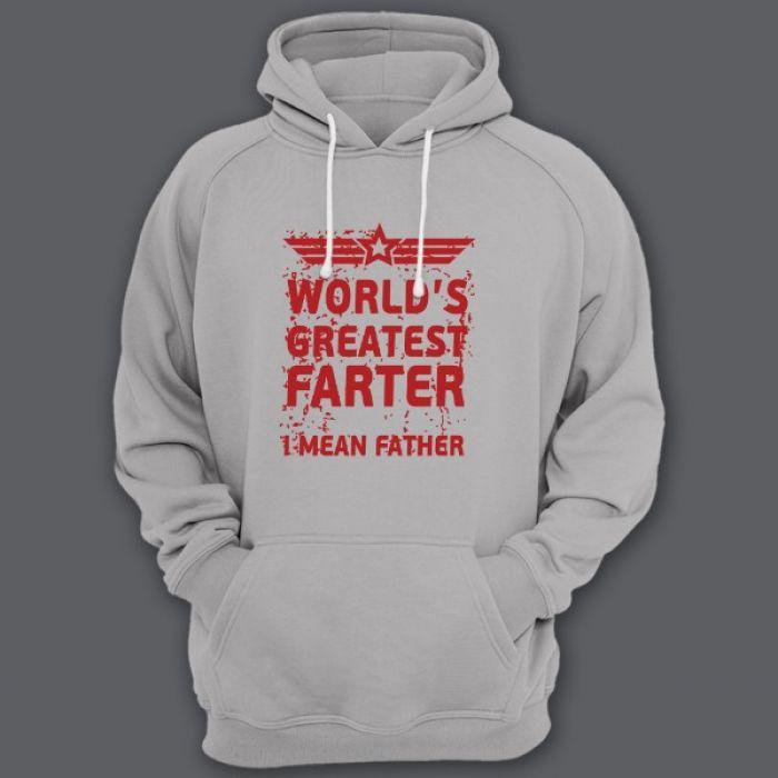 """Прикольная толстовка с капюшоном с надписью """"World's greatest farter"""" (""""Лучший в мире пердун"""")"""