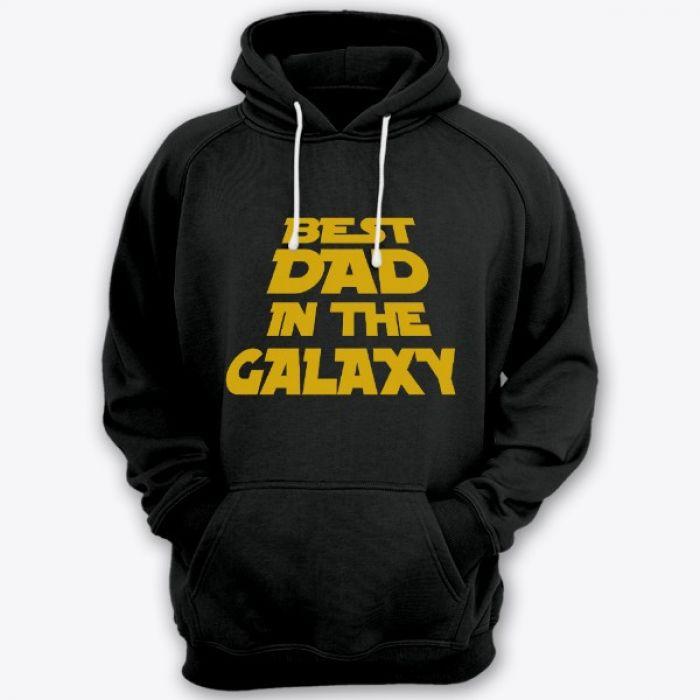 """Толстовка с капюшоном с прикольной надписью """"Best dad in the galaxy"""" (""""Лучший батя в галактике"""")"""