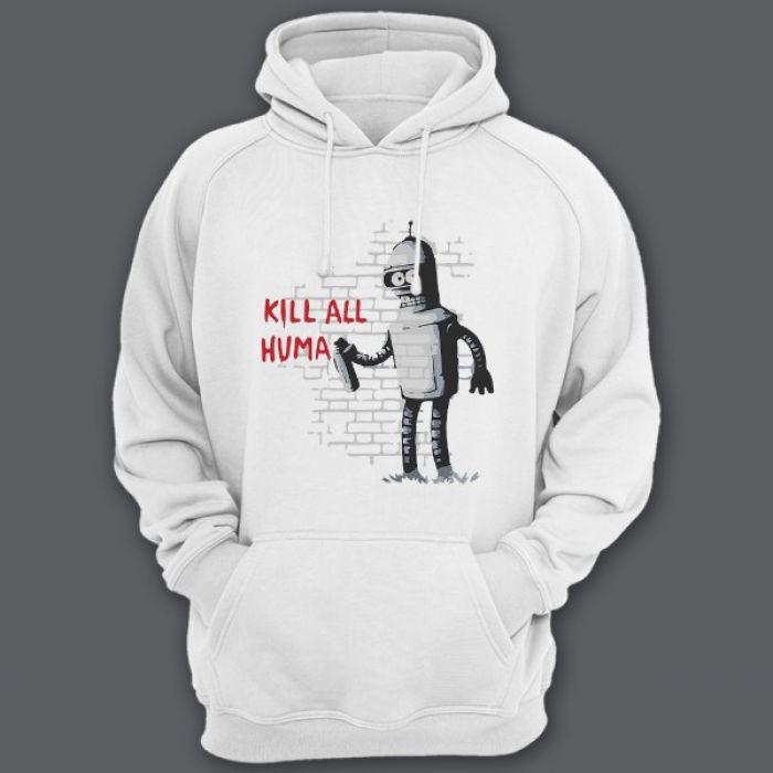 """Прикольная толстовка с капюшоном с надписью """"Kill all huma.."""" и изображением Бендера из Мультсериала """"Футурама"""""""