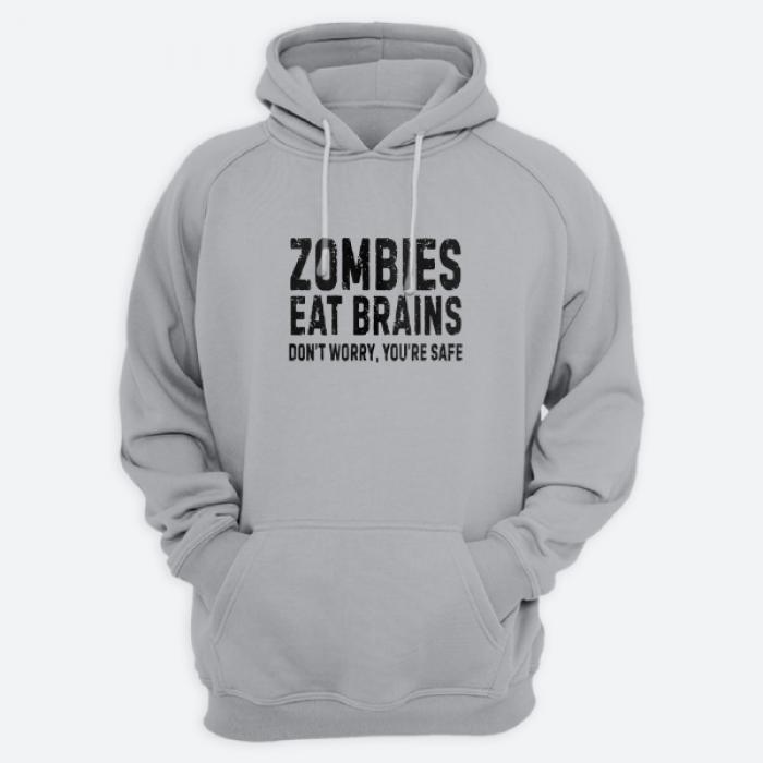 "Толстовка с капюшоном с принтом ""Zombies eat brains. Don't worry you are safe."""