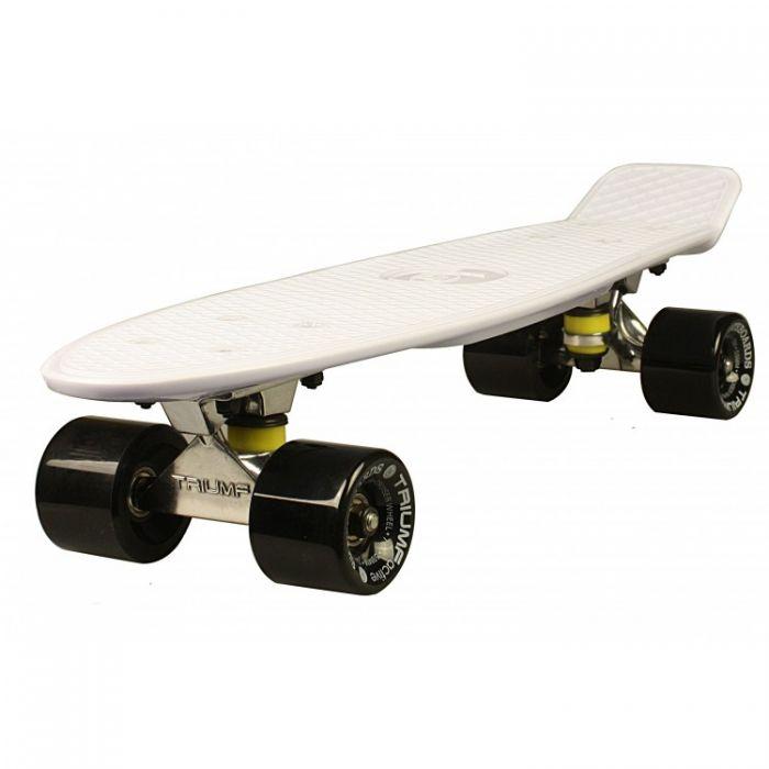 """Скейтборд Triumf Active 22"""" TLS-401 белый с черными колесами"""