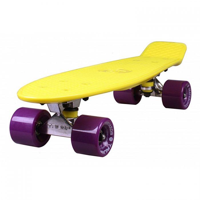 """Скейтборд Triumf Active 22"""" TLS-401 желтый с филетовыми колесами"""