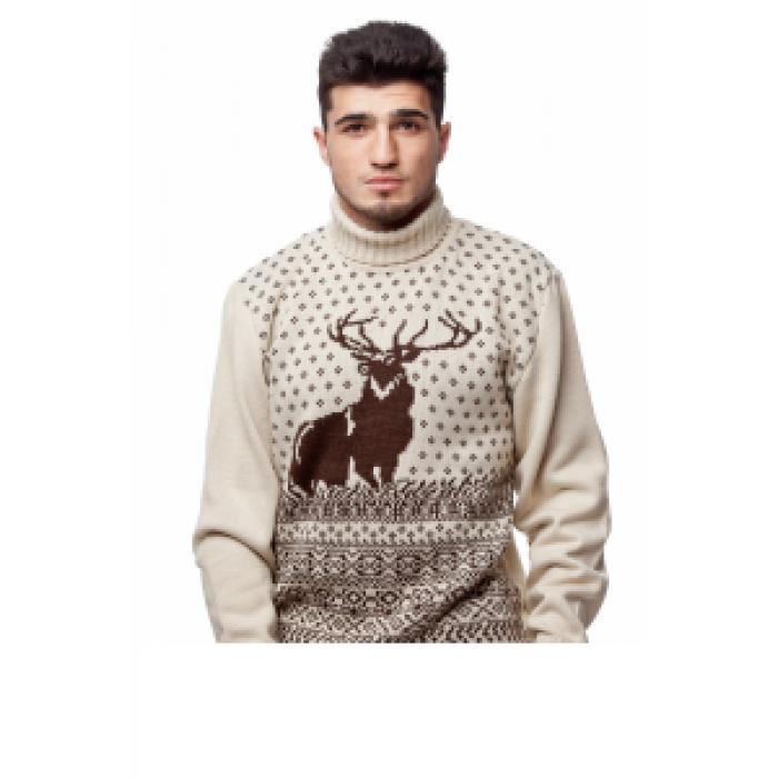 Свитер мужской с оленями 05160 (бежевый)