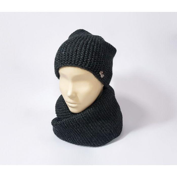 Классический комплект шапка и шарф (чёрный)