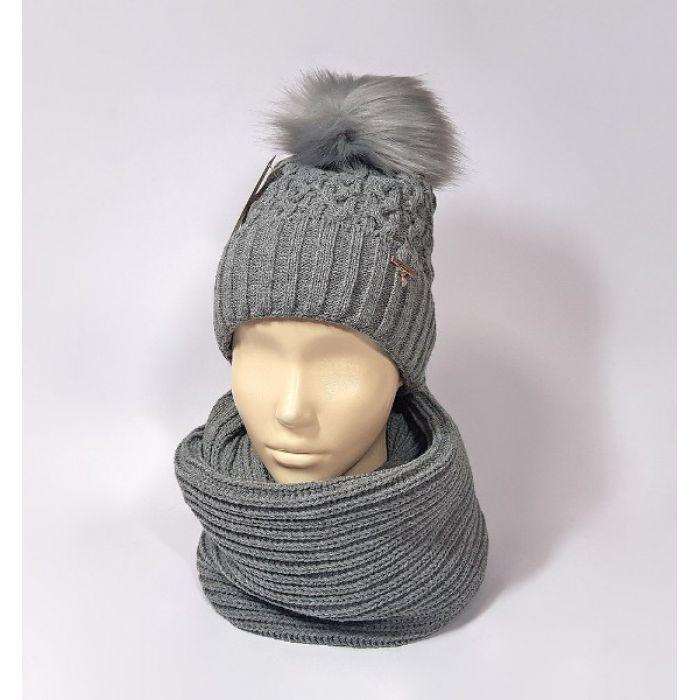 Комплект шапка и шарф зимний (серый)