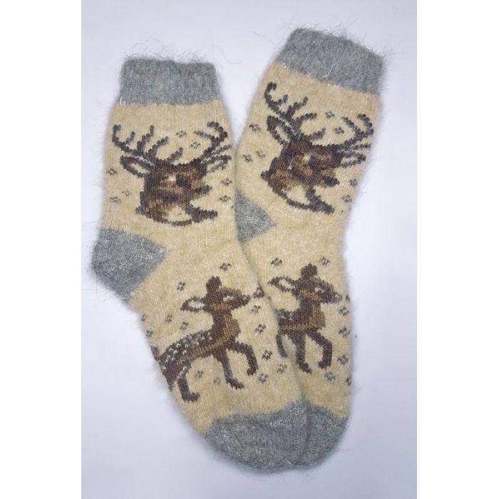 Шерстяные носки женские бежевые с изображением животных