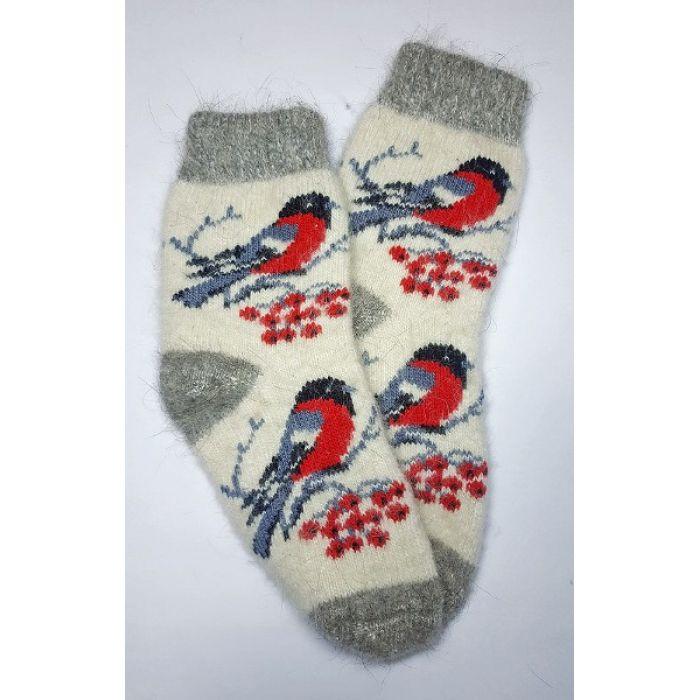 Шерстяные носки из козьего пуха женские со снегирями