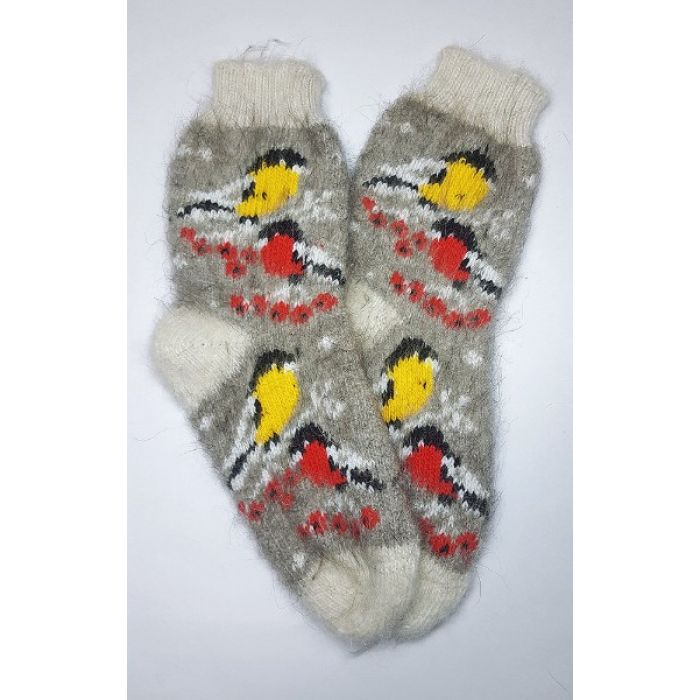 Шерстяные носки из козьего пуха женские с птицами