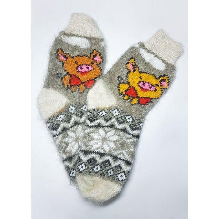 Шерстяные носки из козьего пуха женские с потешными свинками