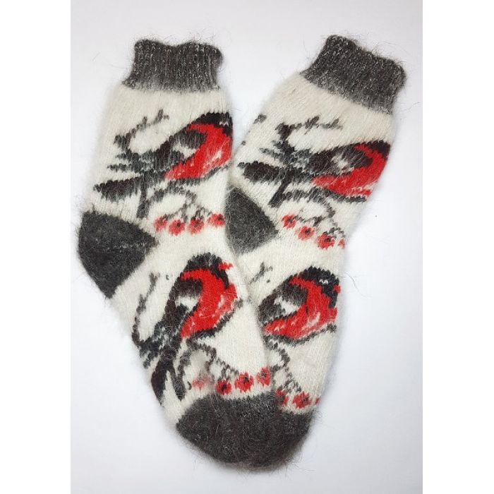 Шерстяные носки из козьего пуха с весёлыми снегирями для женщин