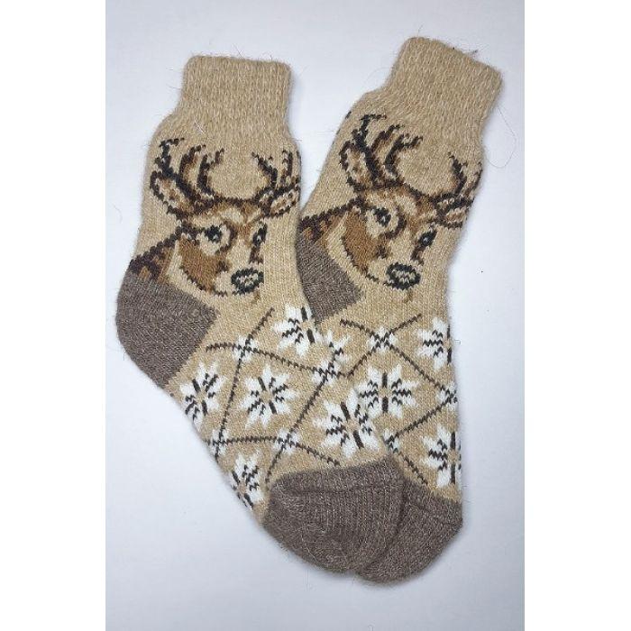 Шерстяные носки кофейного цвета с оленями женские