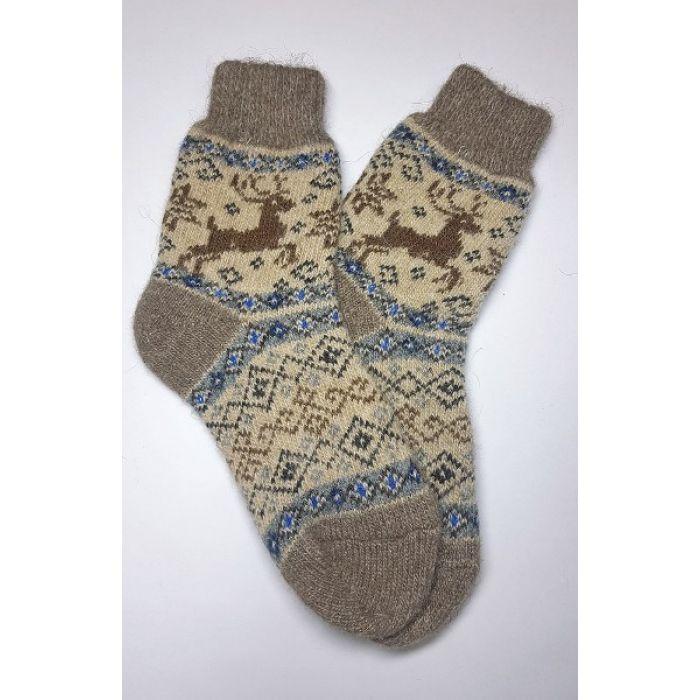 Шерстяные носки женские с орнаментом и оленями