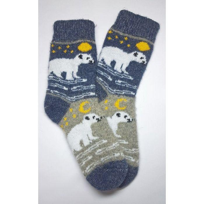 Шерстяные носки женские с белыми медведями