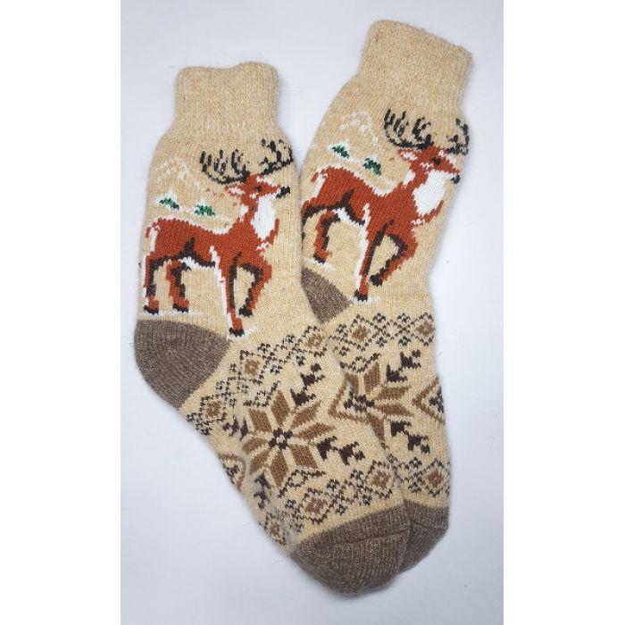 Шерстяные носки кофейные мужские с оленями