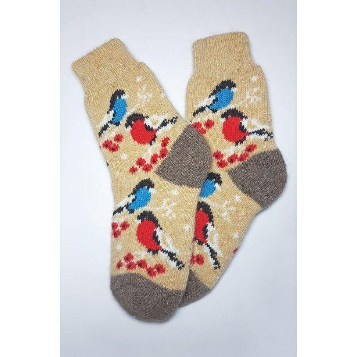 Шерстяные носки со снегирями горчичные женские