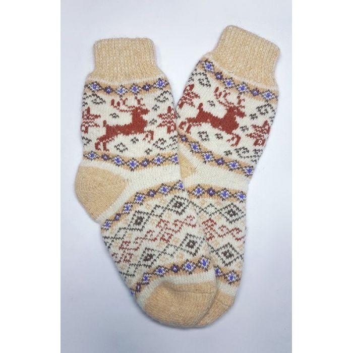 Шерстяные носки с оленями бежевые мужские