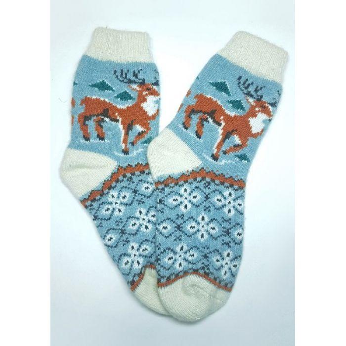 Шерстяные носки вязаные мужские с оленями