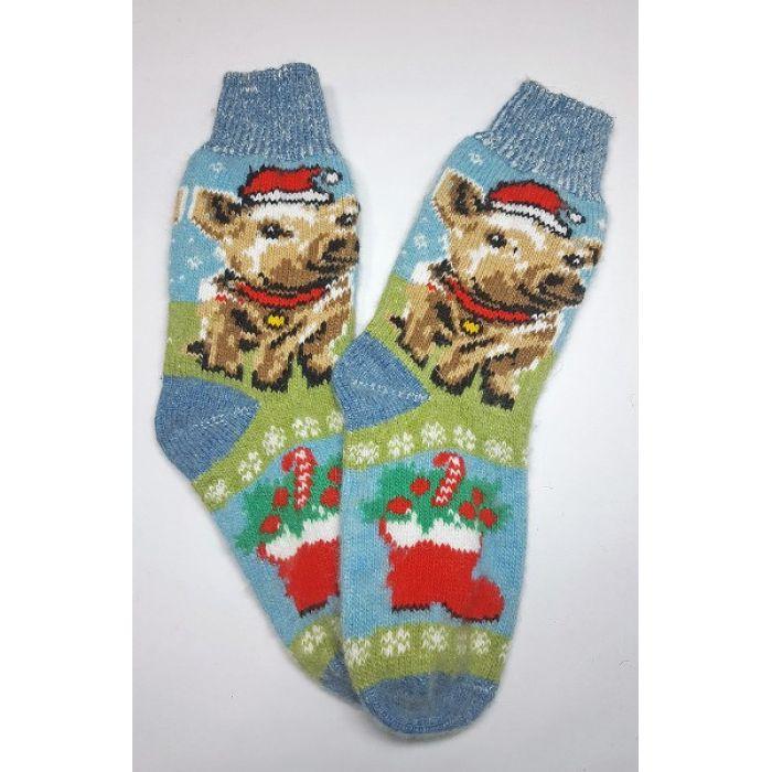 Шерстяные носки новогодние со свинкой мужские
