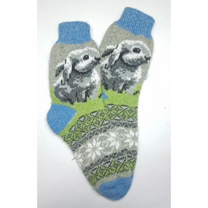 Шерстяные носки мужские с рисунком кролика