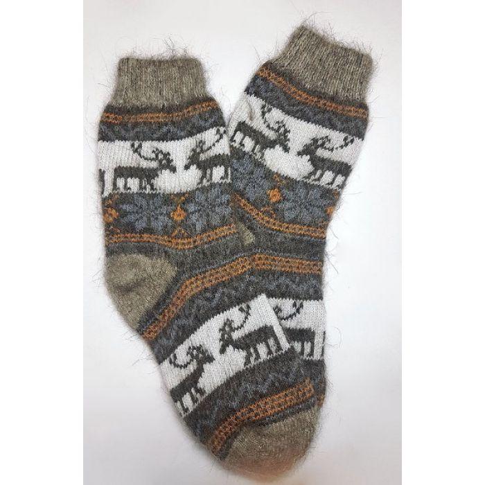 Шерстяные носки пуховые мужские с оленями
