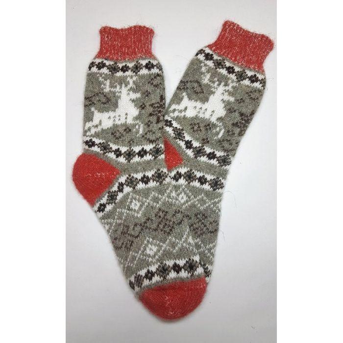 Шерстяные носки пуховые мужские (олени)