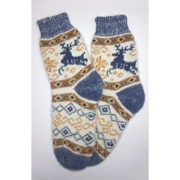 Шерстяные носки пуховые мужские с узорами и оленями