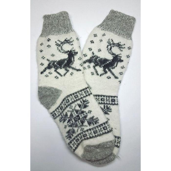 Шерстяные носки пуховые мужские с снежинкой и оленями серые