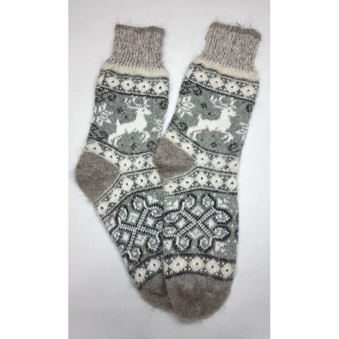 Шерстяные носки пуховые мужские с белыми оленями
