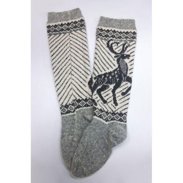 Шерстяные гольфы с оленями серые