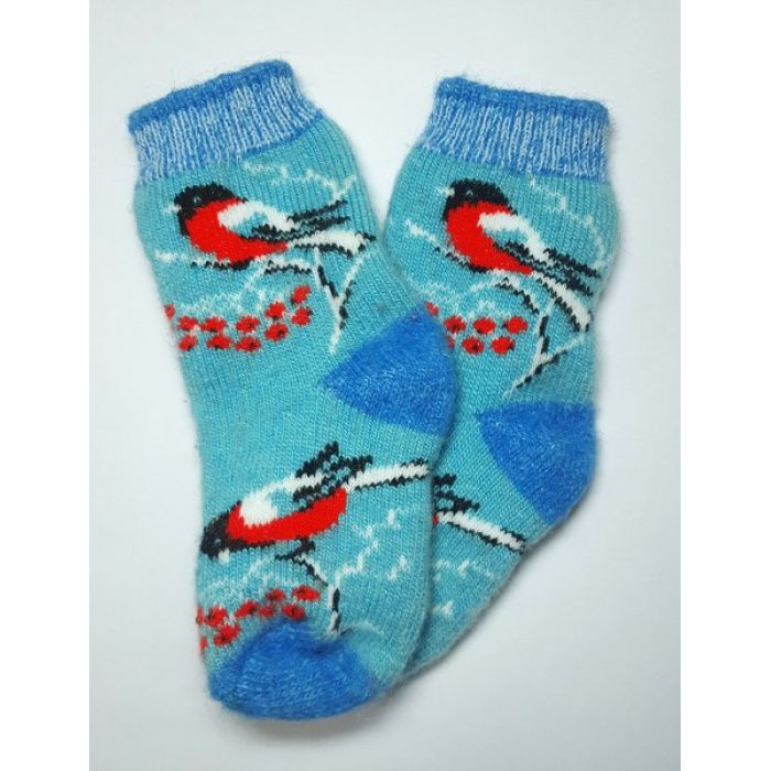 Шерстяные носки голубые детские со снегирями