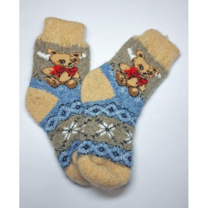 Шерстяные носки детские безразмерные с мишками