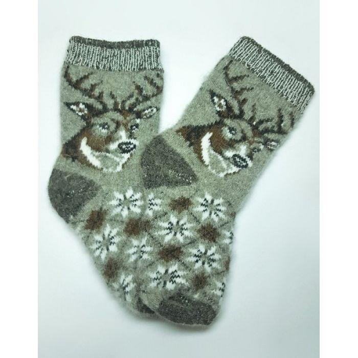 Теплые шерстяные носки с оленями детские