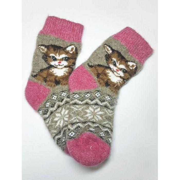 Шерстяные носки детские с котами