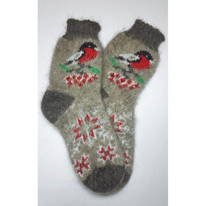 Шерстяные носки пуховые женские со снегирями