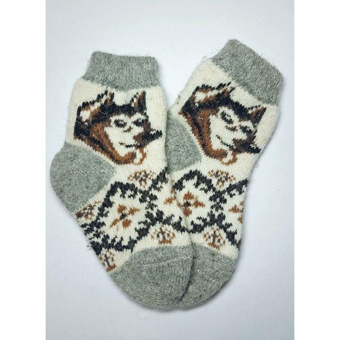 Шерстяные носки для детей с волком и узорами