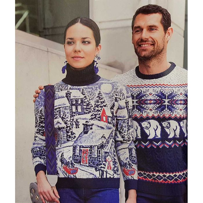 Женский свитер с деревенским пейзажем 130-110