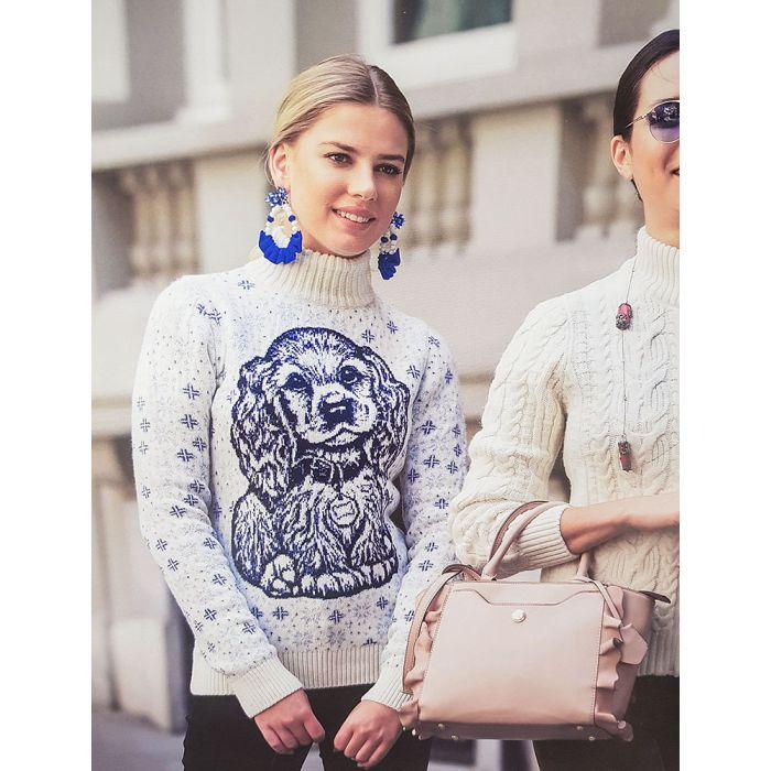 Женский свитер с пёсиком 130-120