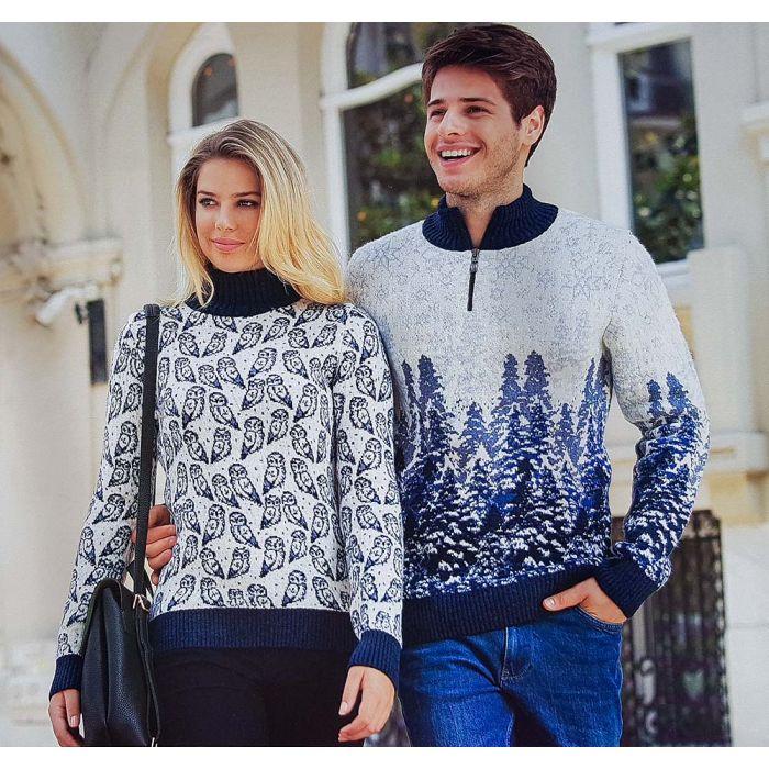 Женский свитер с птицами 130-121