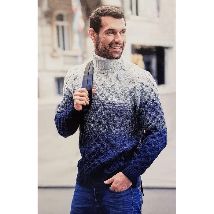 Мужской свитер синий с белым 230-313