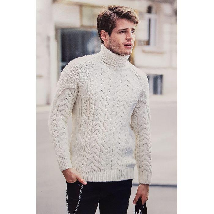 Мужской белый свитер 230-321