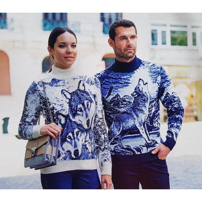 Мужской свитер с волком 230-397