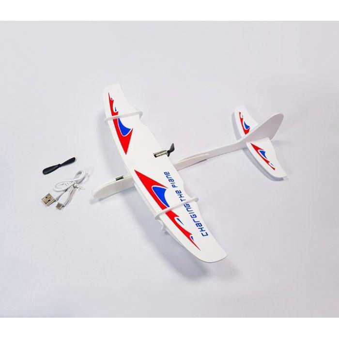 Самолетик с пропеллером из пенопласта 30 см - белый