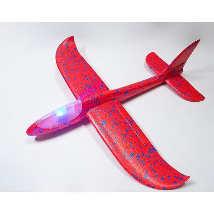 Самолетик из пенопласта 48 см - светящийся Красный