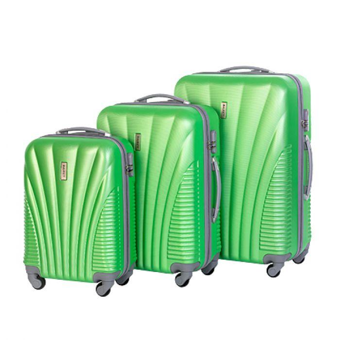 Пластиковый чемодан на четырех колесах изумрудный