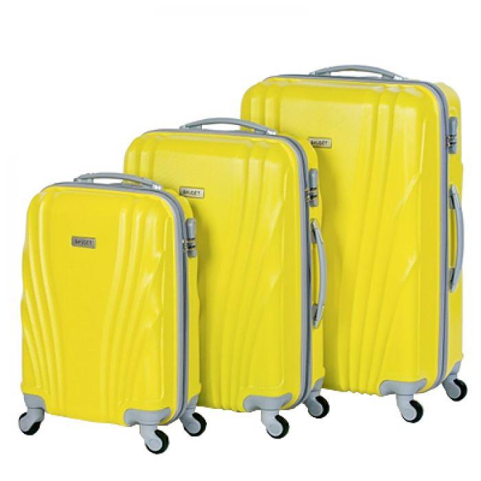 Пластиковый чемодан на четырех колесах ракушка, желтый