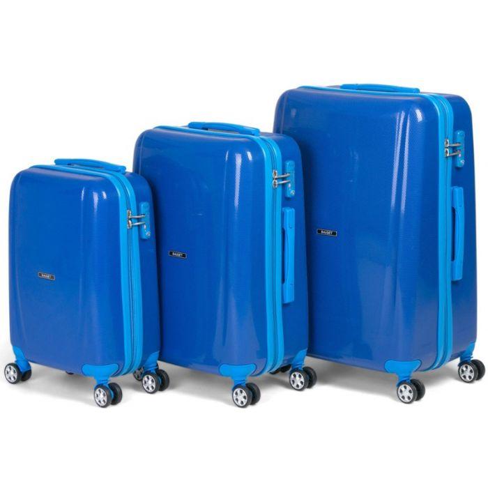 Пластиковый чемодан на четырех колесах синий с голубой молнией