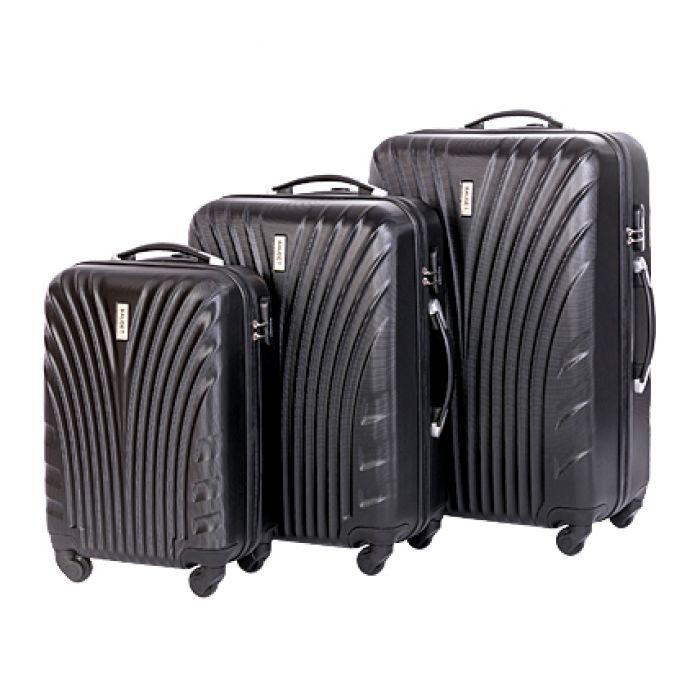 Пластиковый чемодан на четырех колесах ракушка, черный