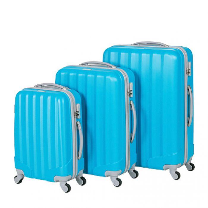 Пластиковый чемодан на четырех колесах лазурно-голубой