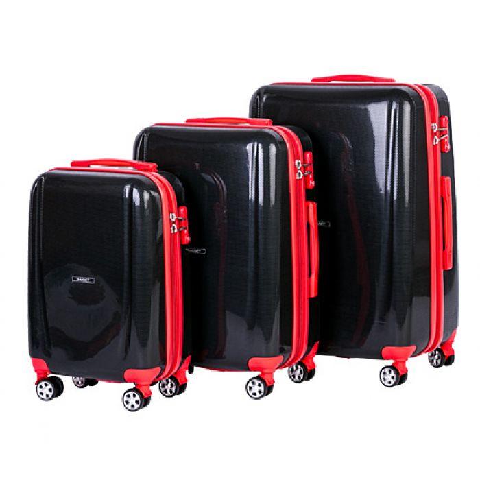 Пластиковый чемодан на четырех колесах черный янтарь