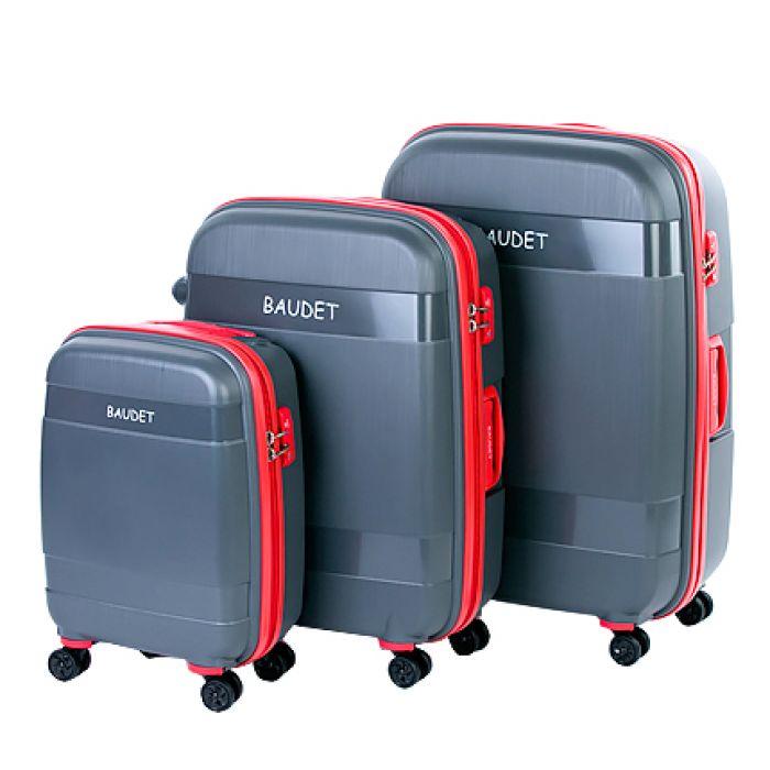 Пластиковый чемодан на четырех колесах гранитно-серый